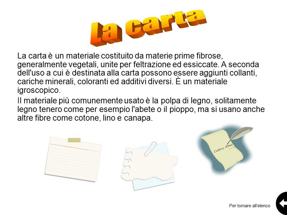 La carta è un materiale costituito da materie prime fibrose, generalmente vegetali, unite per feltrazione ed essiccate.