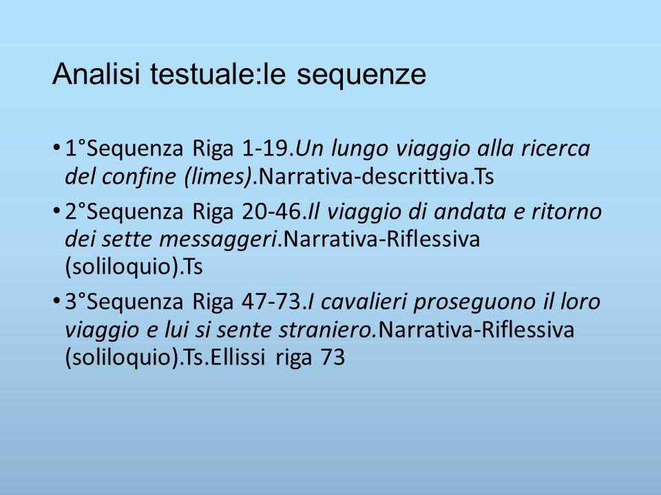 Analisi testuale:le sequenze 1°Sequenza Riga 1-19.Un lungo viaggio alla ricerca del confine (limes).Narrativa-descrittiva.Ts 2°Sequenza Riga 20-46.Il