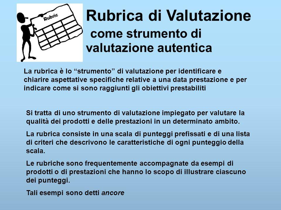 """Rubrica di Valutazione come strumento di valutazione autentica La rubrica è lo """"strumento"""" di valutazione per identificare e chiarire aspettative spec"""