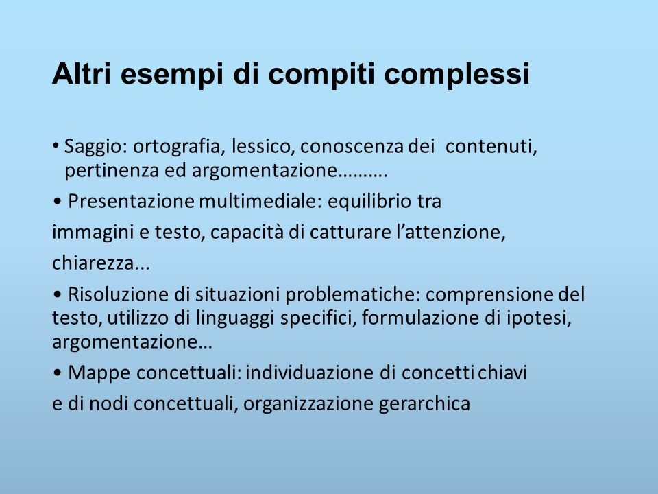 Altri esempi di compiti complessi Saggio: ortografia, lessico, conoscenza dei contenuti, pertinenza ed argomentazione………. Presentazione multimediale: