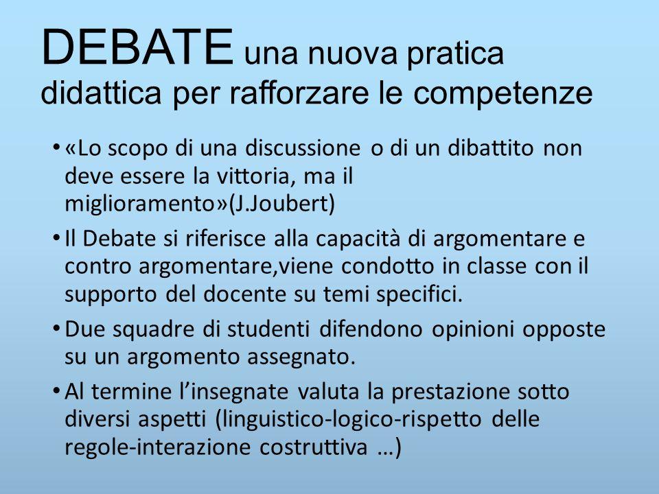 DEBATE una nuova pratica didattica per rafforzare le competenze «Lo scopo di una discussione o di un dibattito non deve essere la vittoria, ma il migl