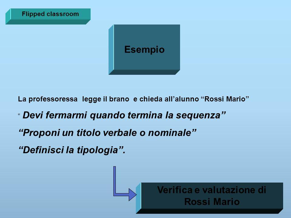 """Esempio La professoressa legge il brano e chieda all'alunno """"Rossi Mario"""" """" Devi fermarmi quando termina la sequenza"""" """"Proponi un titolo verbale o nom"""