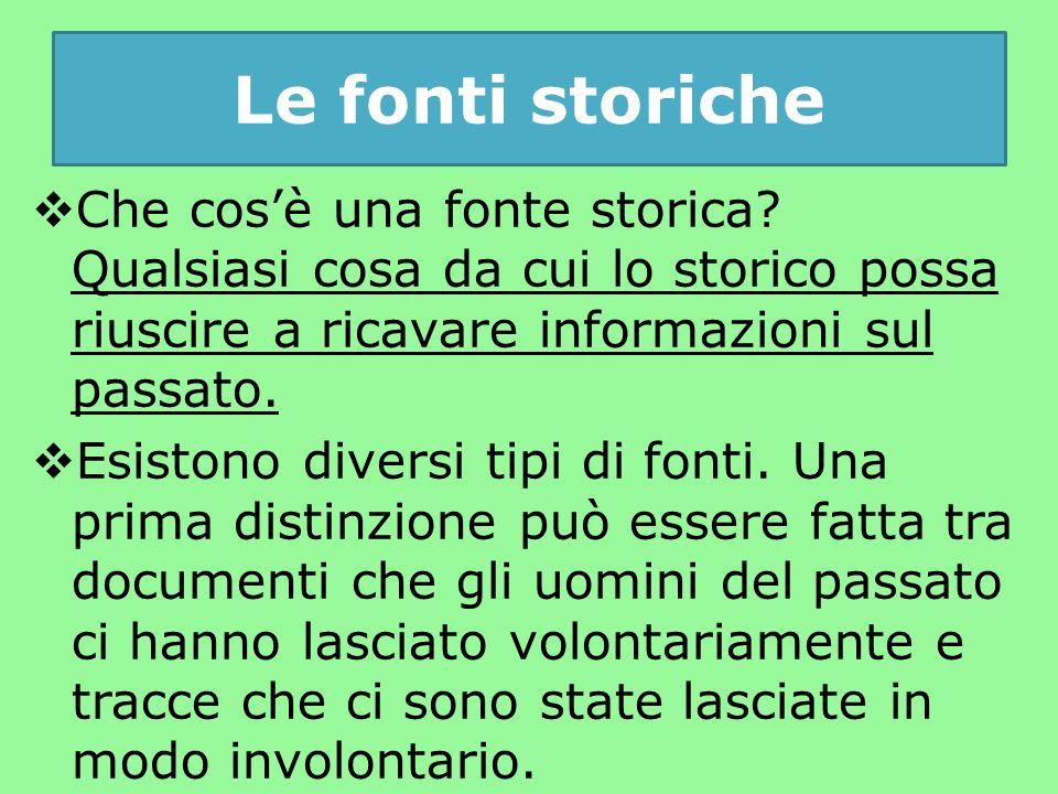 Le fonti storiche  Che cos'è una fonte storica.