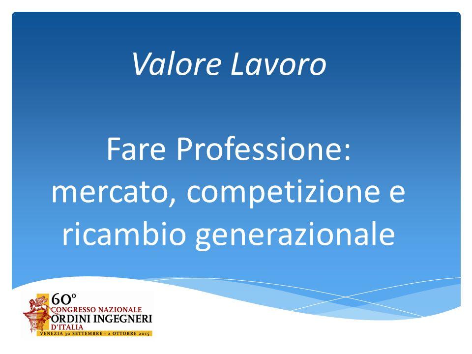 Valore Lavoro Fare Professione: mercato, competizione e ricambio generazionale
