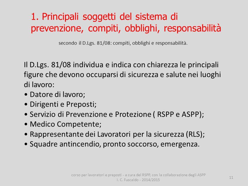 11 secondo il D.Lgs. 81/08: compiti, obblighi e responsabilità. Il D.Lgs. 81/08 individua e indica con chiarezza le principali figure che devono occup