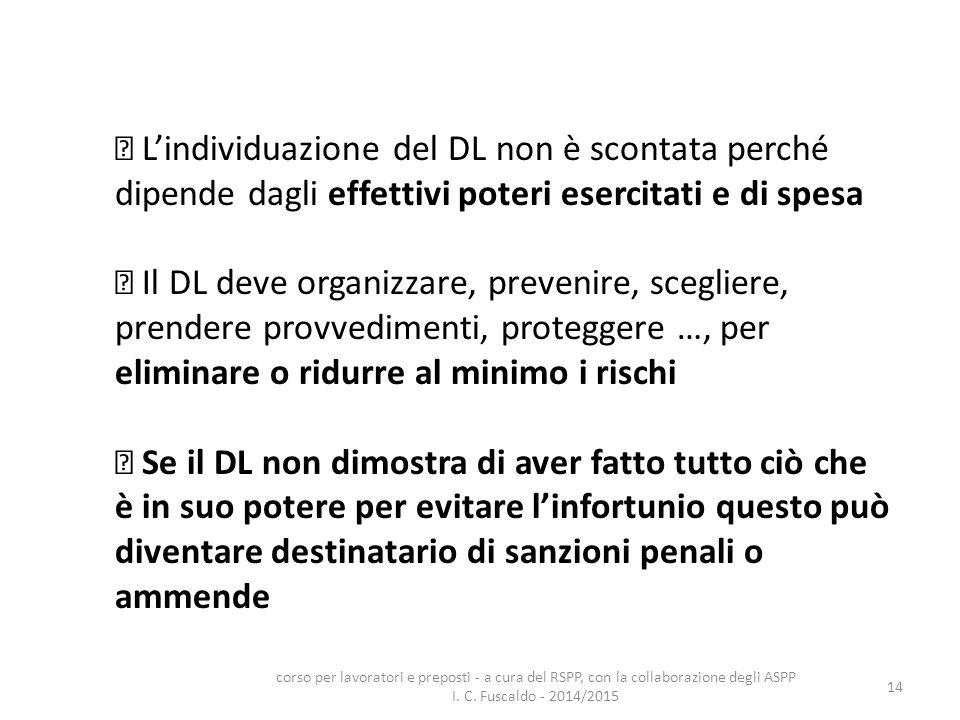 14 L'individuazione del DL non è scontata perché dipende dagli effettivi poteri esercitati e di spesa Il DL deve organizzare, prevenire, scegliere, pr