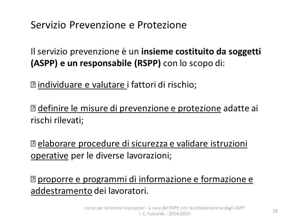 28 Servizio Prevenzione e Protezione Il servizio prevenzione è un insieme costituito da soggetti (ASPP) e un responsabile (RSPP) con lo scopo di: indi