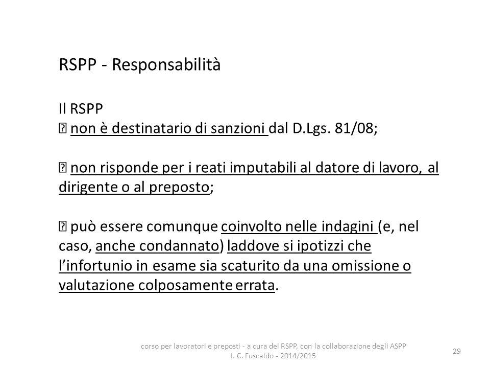 29 RSPP - Responsabilità Il RSPP non è destinatario di sanzioni dal D.Lgs. 81/08; non risponde per i reati imputabili al datore di lavoro, al dirigent