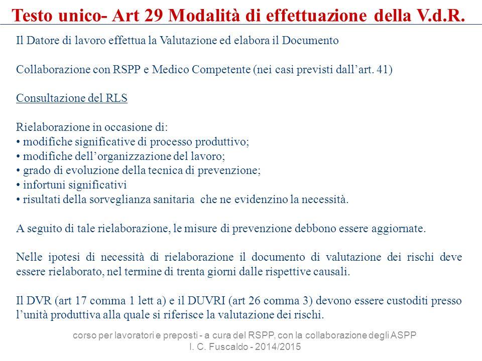 Il Datore di lavoro effettua la Valutazione ed elabora il Documento Collaborazione con RSPP e Medico Competente (nei casi previsti dall'art. 41) Consu