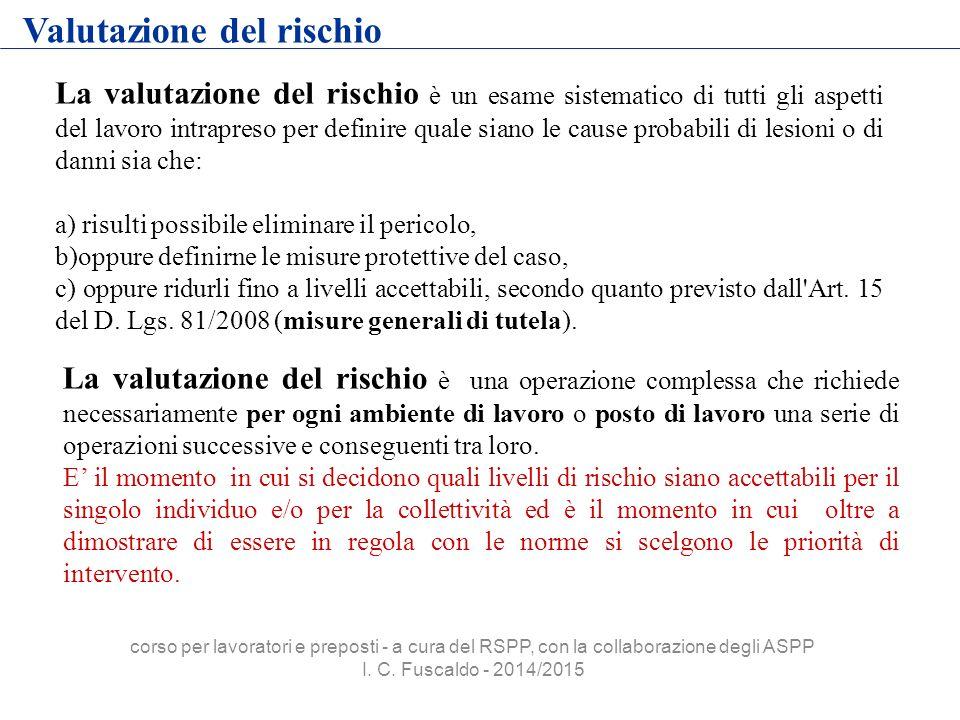 Valutazione del rischio La valutazione del rischio è un esame sistematico di tutti gli aspetti del lavoro intrapreso per definire quale siano le cause