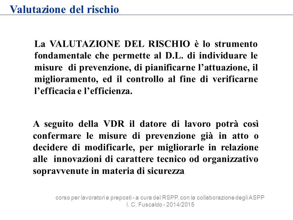 Valutazione del rischio La VALUTAZIONE DEL RISCHIO è lo strumento fondamentale che permette al D.L. di individuare le misure di prevenzione, di pianif