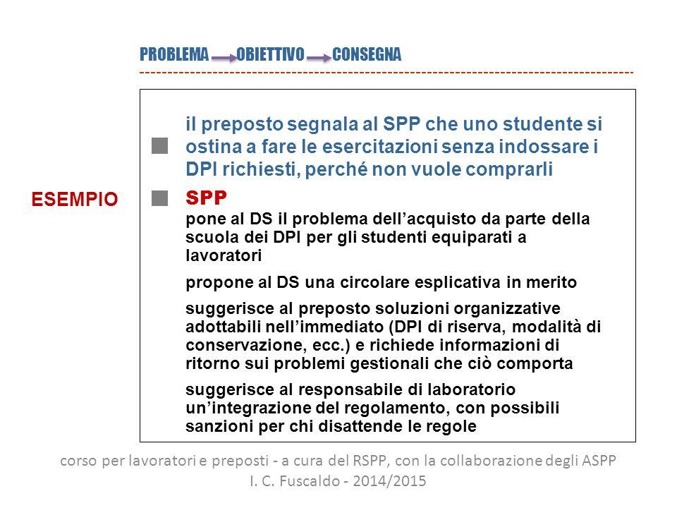 PROBLEMA OBIETTIVO CONSEGNA il preposto segnala al SPP che uno studente si ostina a fare le esercitazioni senza indossare i DPI richiesti, perché non