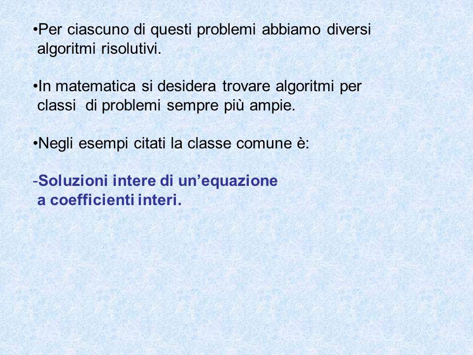 Il matematico David Hilbert elencò ventitré problemi di cui il decimo si può formulare così: -esiste un procedimento effettivo (algoritmo) per decidere se, comunque dato un polinomio con coefficienti interi, in un numero finito qualunque di variabili, esso ha radici intere?* * Si parla di procedura di decisione .
