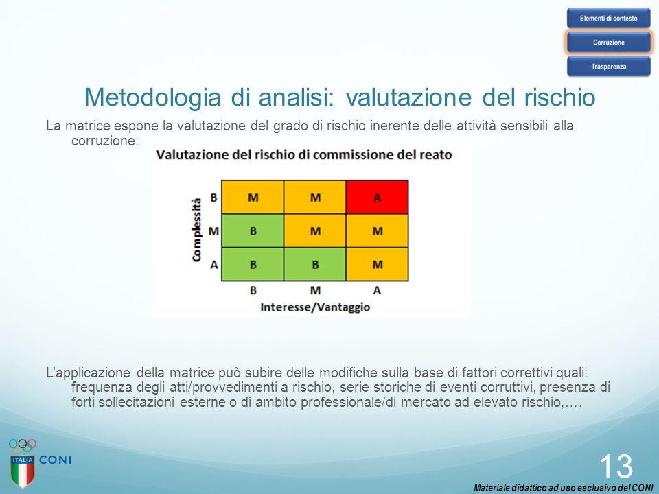13 La matrice espone la valutazione del grado di rischio inerente delle attività sensibili alla corruzione: L'applicazione della matrice può subire de