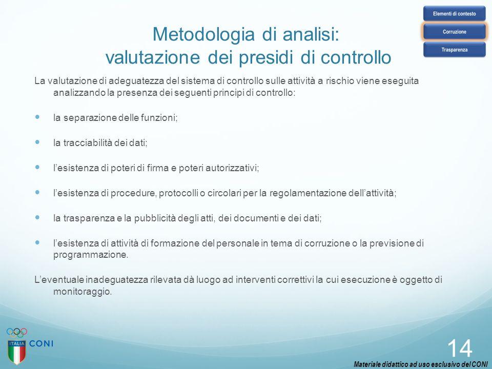 Metodologia di analisi: valutazione dei presidi di controllo La valutazione di adeguatezza del sistema di controllo sulle attività a rischio viene ese