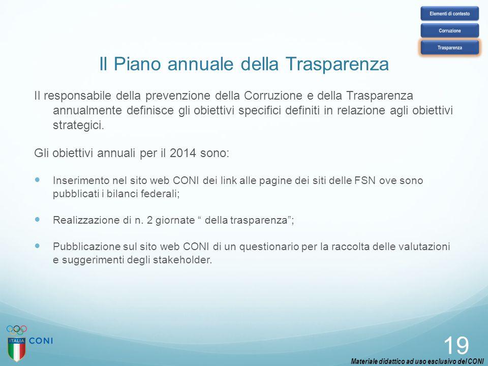 Il Piano annuale della Trasparenza Il responsabile della prevenzione della Corruzione e della Trasparenza annualmente definisce gli obiettivi specific