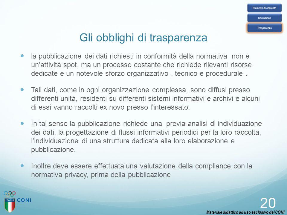 Gli obblighi di trasparenza la pubblicazione dei dati richiesti in conformità della normativa non è un'attività spot, ma un processo costante che rich