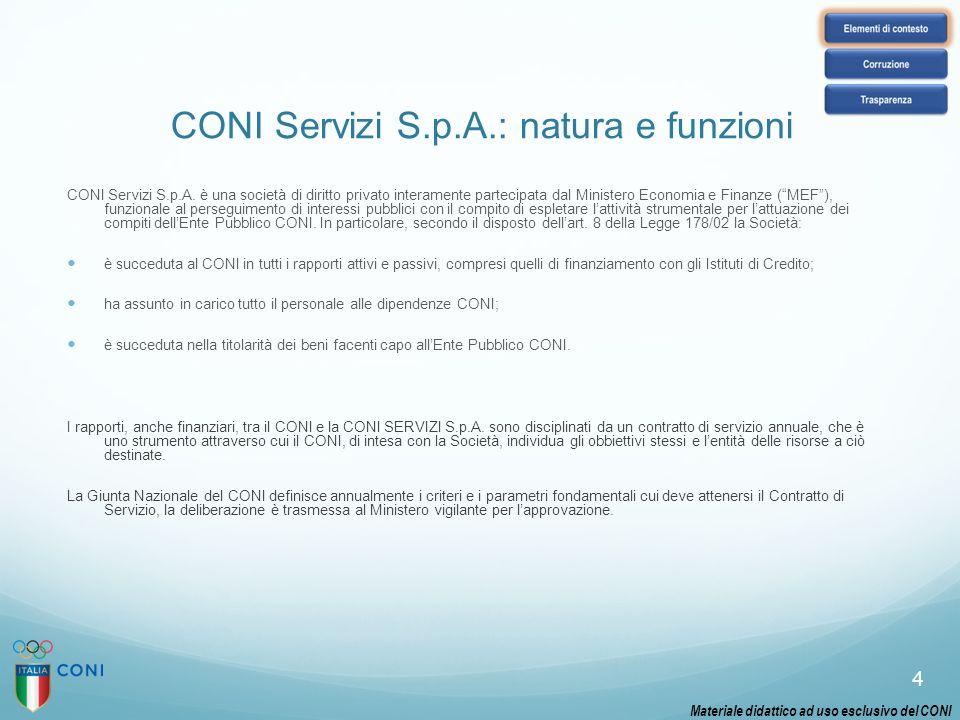 CONI Servizi S.p.A.: natura e funzioni CONI Servizi S.p.A. è una società di diritto privato interamente partecipata dal Ministero Economia e Finanze (