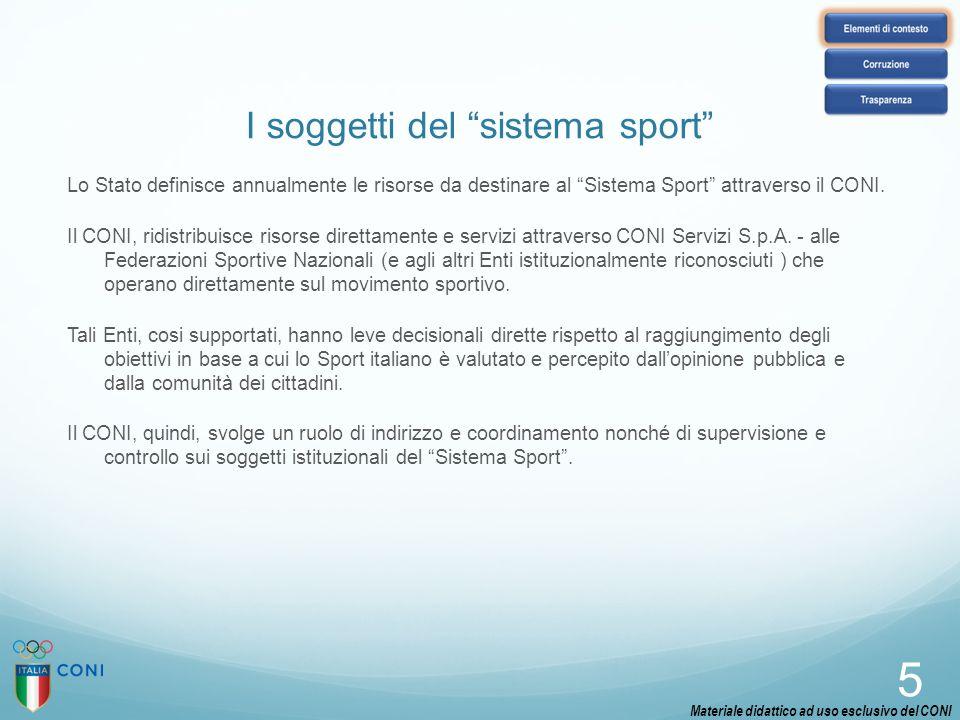 """I soggetti del """"sistema sport"""" Lo Stato definisce annualmente le risorse da destinare al """"Sistema Sport"""" attraverso il CONI. Il CONI, ridistribuisce r"""