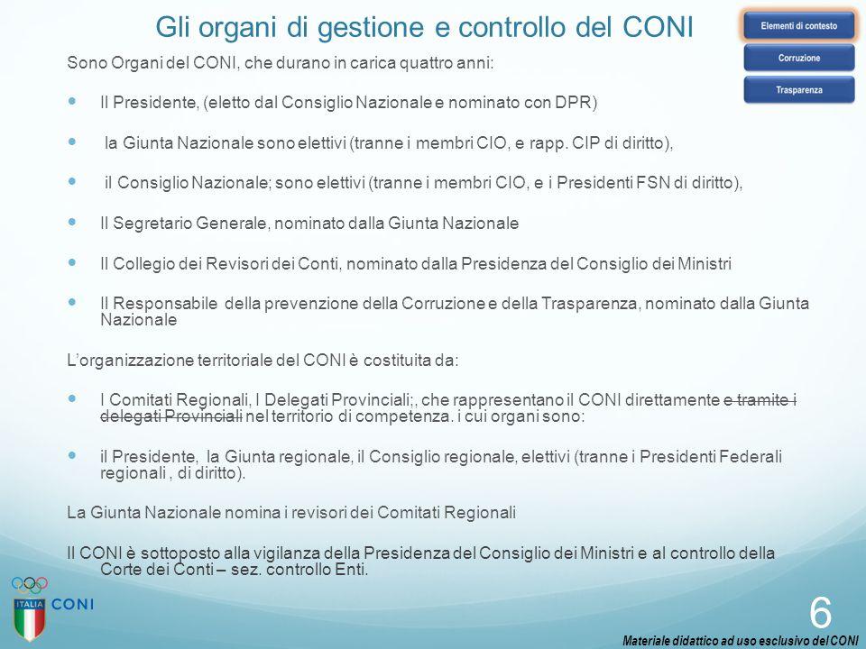 Gli organi di gestione e controllo del CONI Sono Organi del CONI, che durano in carica quattro anni: Il Presidente, (eletto dal Consiglio Nazionale e