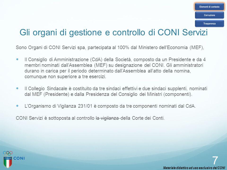 Gli organi di gestione e controllo di CONI Servizi Sono Organi di CONI Servizi spa, partecipata al 100% dal Ministero dell'Economia (MEF), Il Consigli