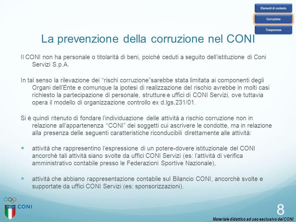 La prevenzione della corruzione nel CONI Il CONI non ha personale o titolarità di beni, poiché ceduti a seguito dell'istituzione di Coni Servizi S.p.A