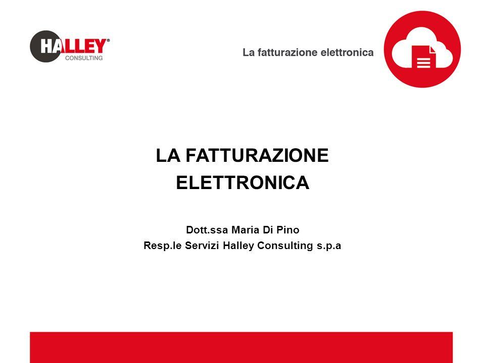 LA FATTURAZIONE ELETTRONICA Dott.ssa Maria Di Pino Resp.le Servizi Halley Consulting s.p.a