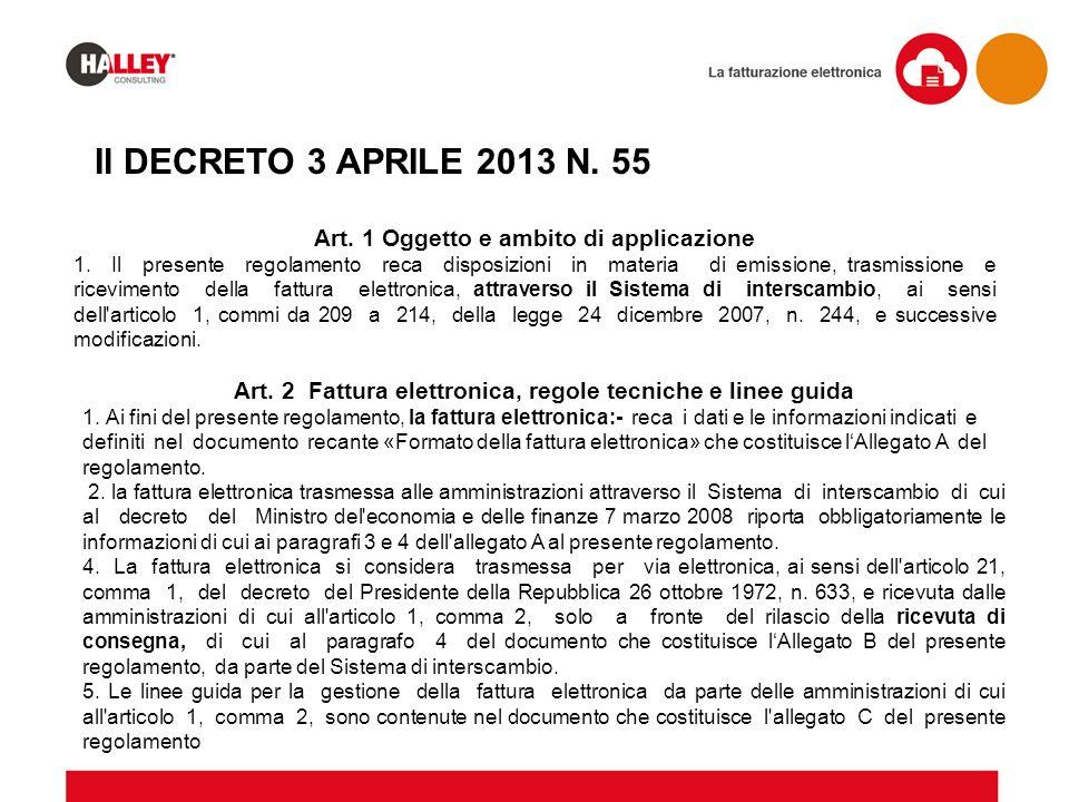 Il DECRETO 3 APRILE 2013 N. 55 Art. 2 Fattura elettronica, regole tecniche e linee guida 1. Ai fini del presente regolamento, la fattura elettronica:-