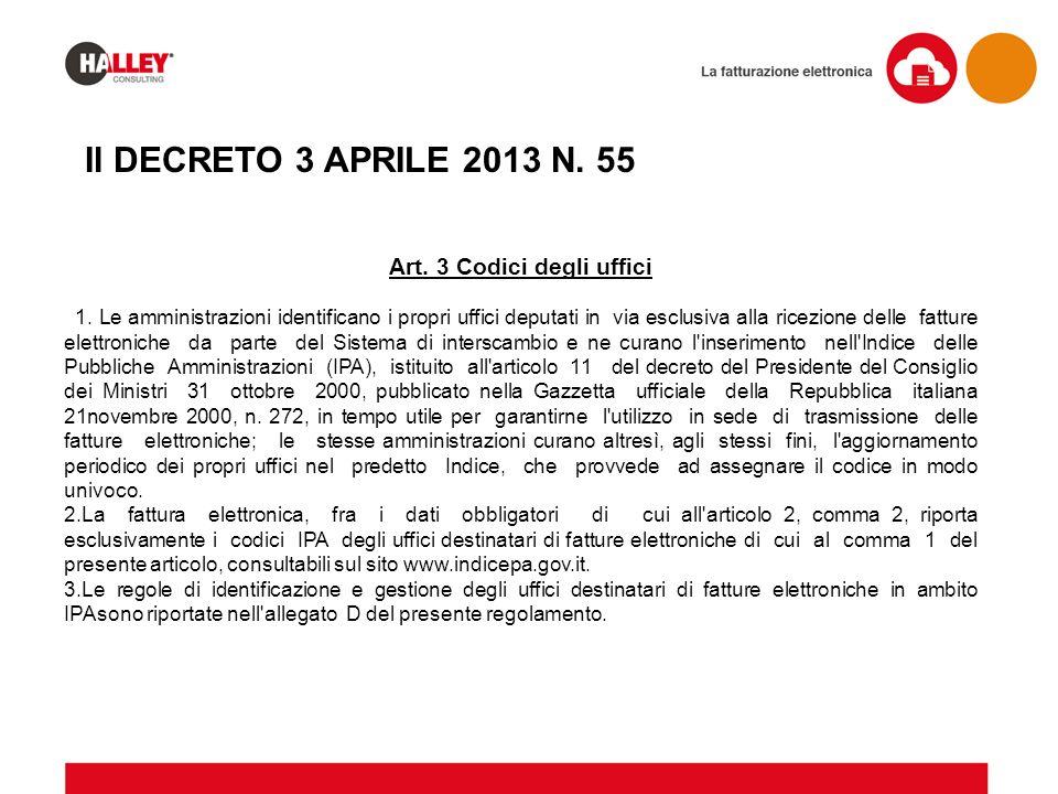 Il DECRETO 3 APRILE 2013 N. 55 Art. 3 Codici degli uffici 1. Le amministrazioni identificano i propri uffici deputati in via esclusiva alla ricezione