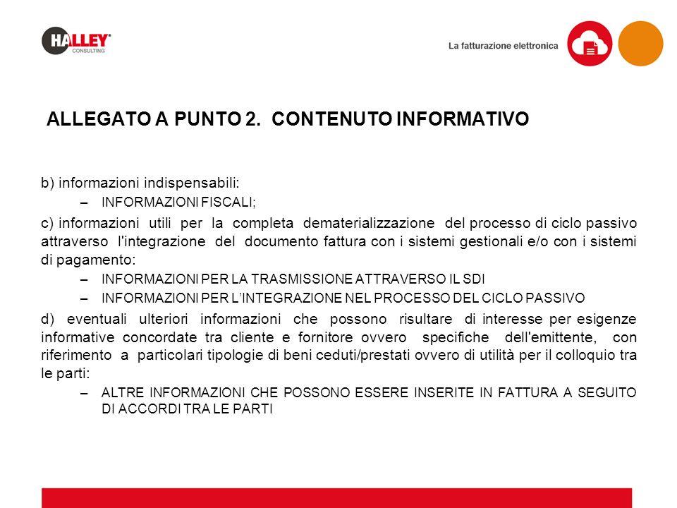 ALLEGATO A PUNTO 2. CONTENUTO INFORMATIVO b) informazioni indispensabili: –INFORMAZIONI FISCALI; c) informazioni utili per la completa dematerializzaz