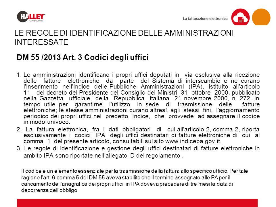 LE REGOLE DI IDENTIFICAZIONE DELLE AMMINISTRAZIONI INTERESSATE DM 55 /2013 Art. 3 Codici degli uffici 1.Le amministrazioni identificano i propri uffic