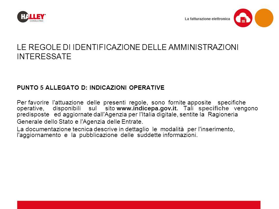 PUNTO 5 ALLEGATO D: INDICAZIONI OPERATIVE Per favorire l'attuazione delle presenti regole, sono fornite apposite specifiche operative, disponibili sul