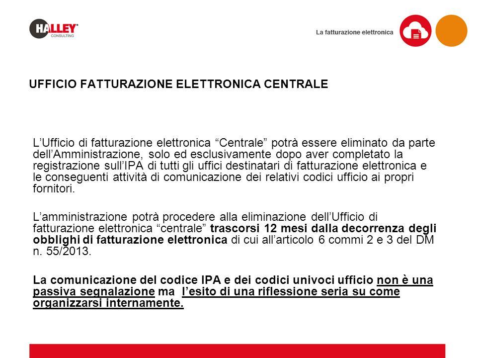 """UFFICIO FATTURAZIONE ELETTRONICA CENTRALE L'Ufficio di fatturazione elettronica """"Centrale"""" potrà essere eliminato da parte dell'Amministrazione, solo"""