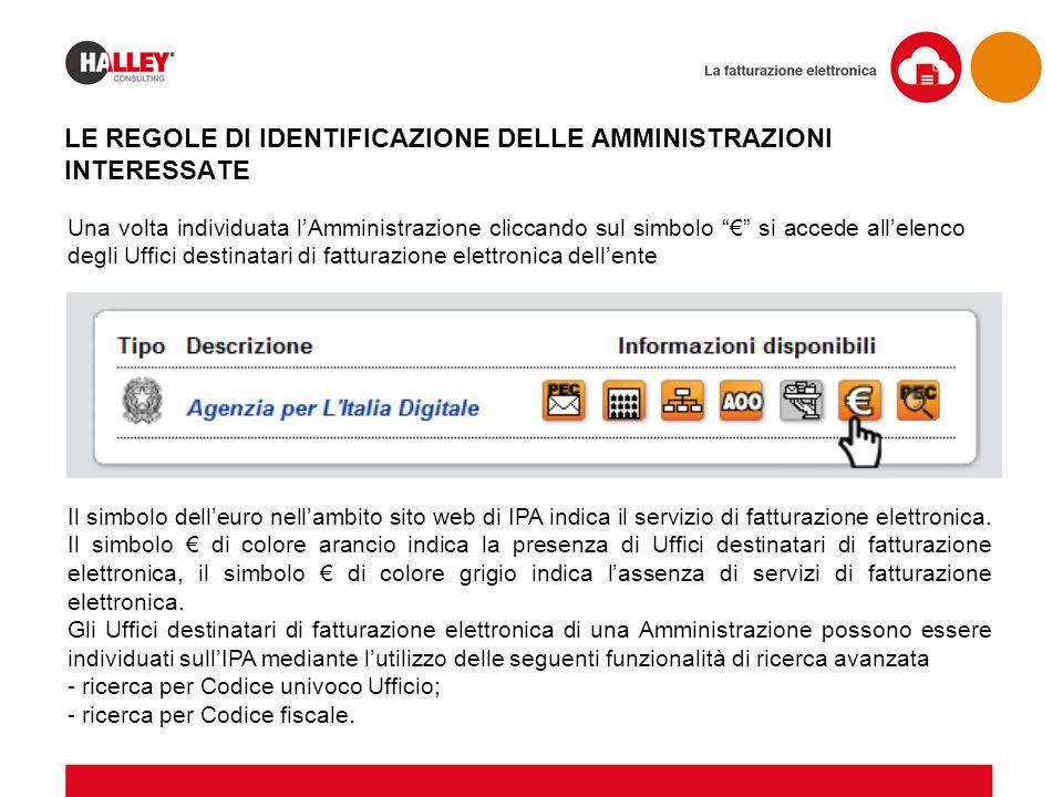 """Una volta individuata l'Amministrazione cliccando sul simbolo """"€"""" si accede all'elenco degli Uffici destinatari di fatturazione elettronica dell'ente"""