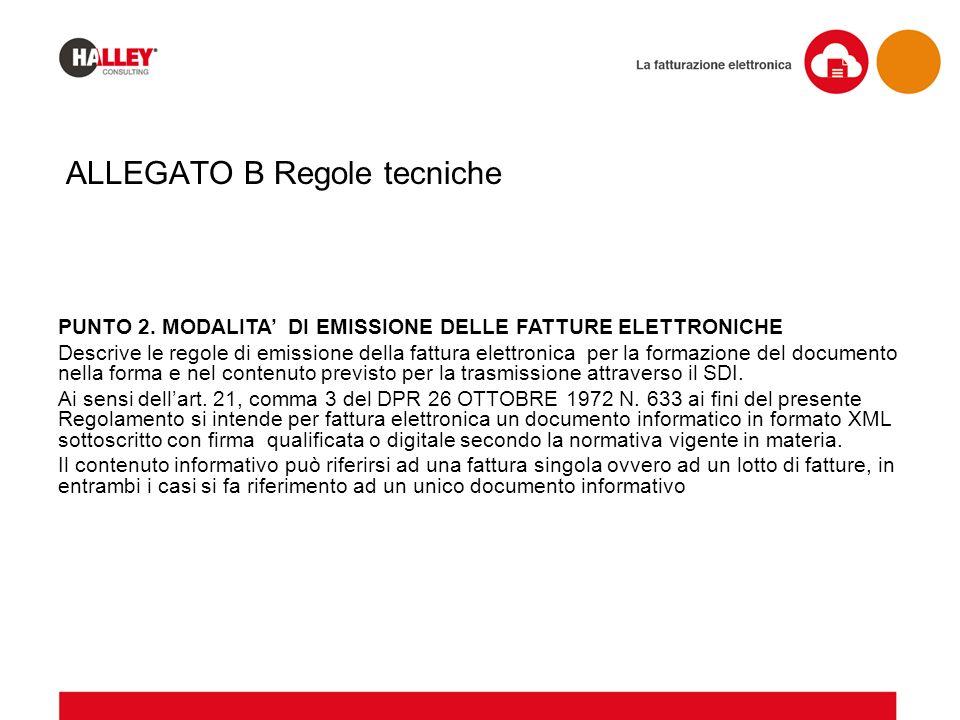 ALLEGATO B Regole tecniche PUNTO 2. MODALITA' DI EMISSIONE DELLE FATTURE ELETTRONICHE Descrive le regole di emissione della fattura elettronica per la