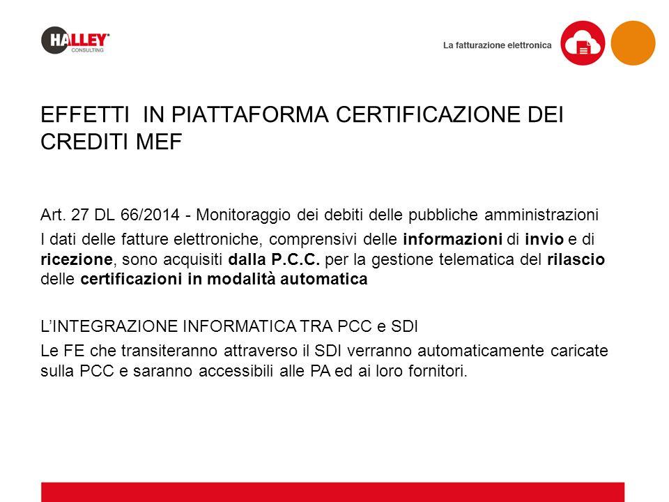 EFFETTI IN PIATTAFORMA CERTIFICAZIONE DEI CREDITI MEF Art. 27 DL 66/2014 - Monitoraggio dei debiti delle pubbliche amministrazioni I dati delle fattur