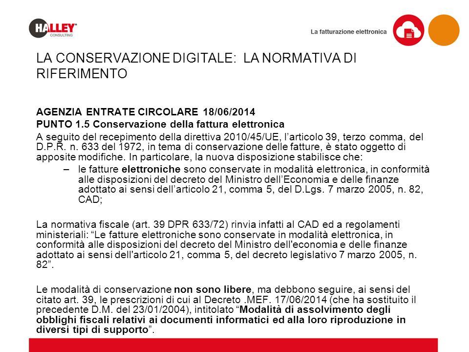 AGENZIA ENTRATE CIRCOLARE 18/06/2014 PUNTO 1.5 Conservazione della fattura elettronica A seguito del recepimento della direttiva 2010/45/UE, l'articol