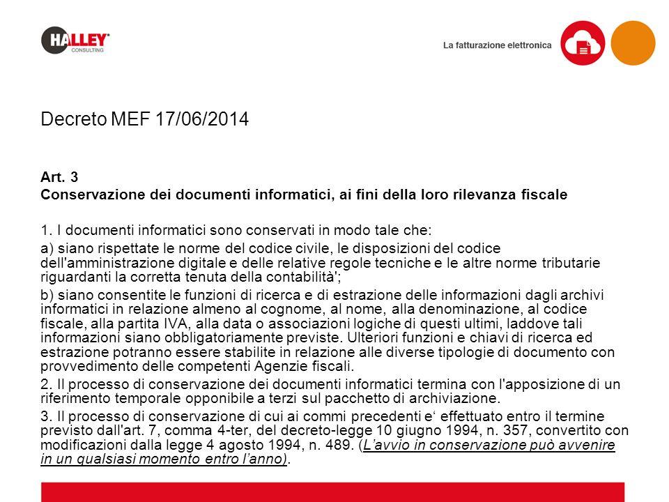 Decreto MEF 17/06/2014 Art. 3 Conservazione dei documenti informatici, ai fini della loro rilevanza fiscale 1. I documenti informatici sono conservati