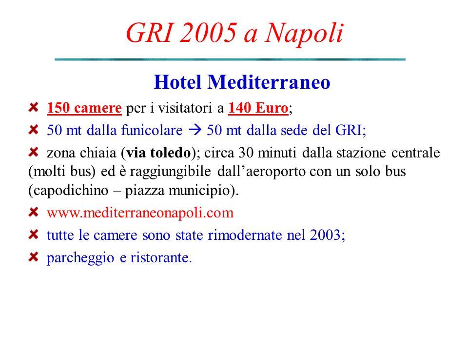 GRI 2005 a Napoli Hotel Mediterraneo 150 camere per i visitatori a 140 Euro; 50 mt dalla funicolare  50 mt dalla sede del GRI; zona chiaia (via toledo); circa 30 minuti dalla stazione centrale (molti bus) ed è raggiungibile dall'aeroporto con un solo bus (capodichino – piazza municipio).