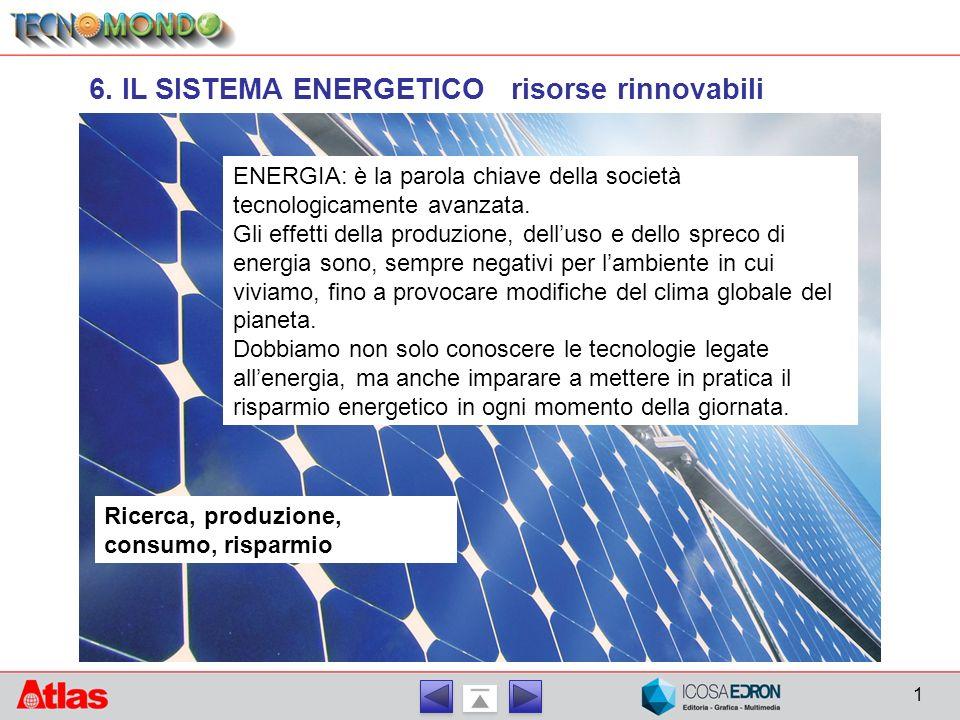 6. IL SISTEMA ENERGETICO risorse rinnovabili Ricerca, produzione, consumo, risparmio ENERGIA: è la parola chiave della società tecnologicamente avanza