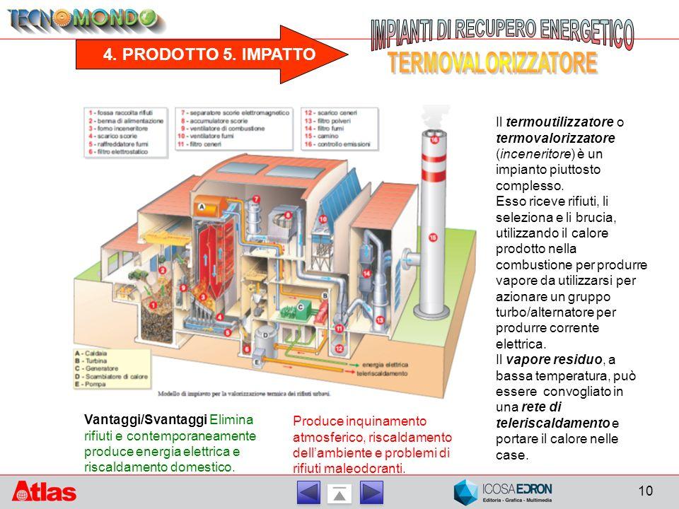 4. PRODOTTO 5. IMPATTO Il termoutilizzatore o termovalorizzatore (inceneritore) è un impianto piuttosto complesso. Esso riceve rifiuti, li seleziona e