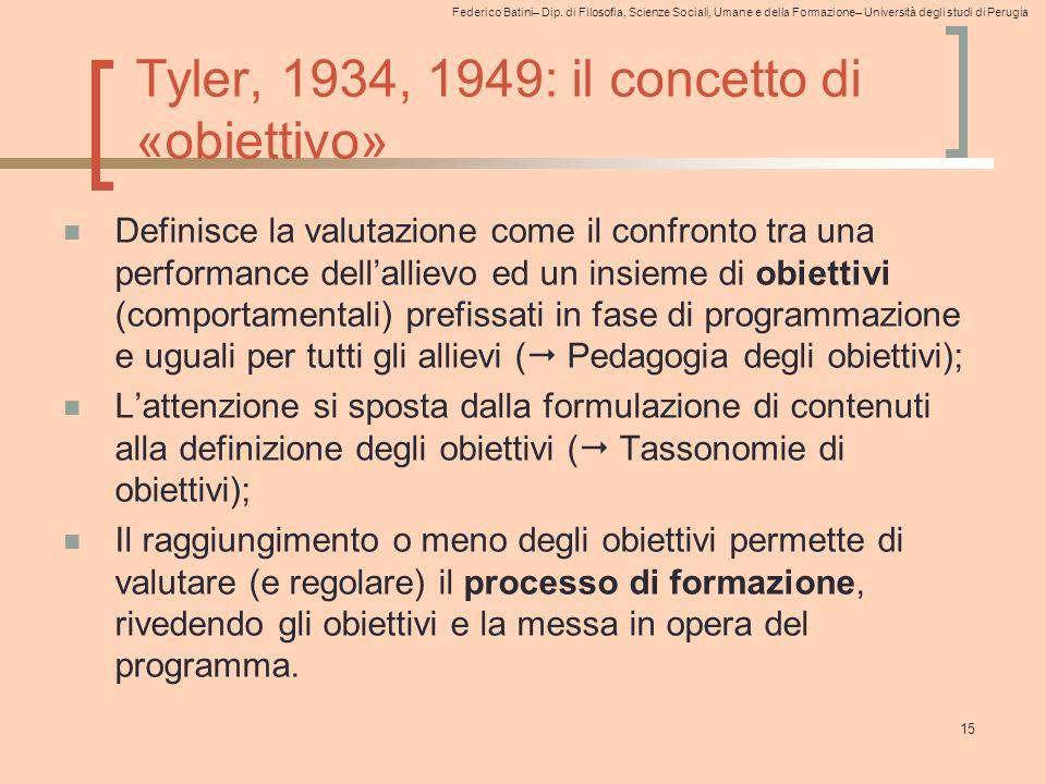 Federico Batini– Dip. di Filosofia, Scienze Sociali, Umane e della Formazione– Università degli studi di Perugia Tyler, 1934, 1949: il concetto di «ob