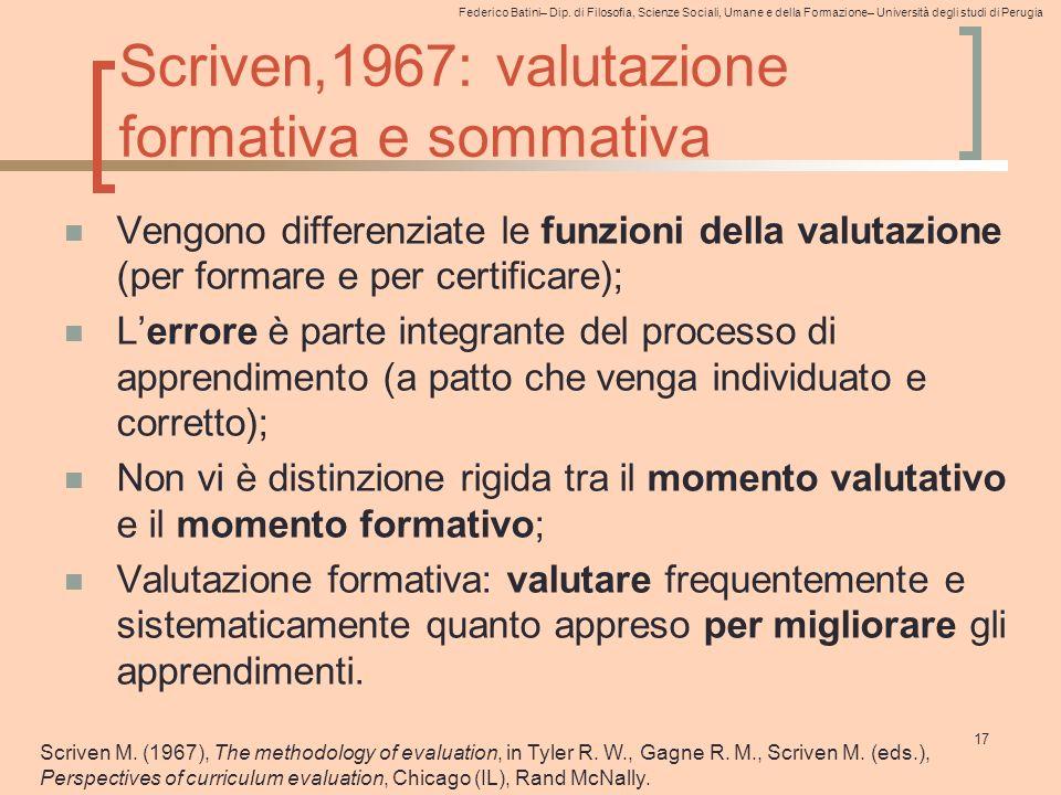 Federico Batini– Dip. di Filosofia, Scienze Sociali, Umane e della Formazione– Università degli studi di Perugia Scriven,1967: valutazione formativa e