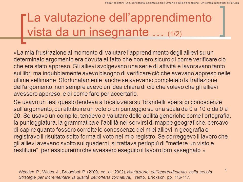 Federico Batini– Dip. di Filosofia, Scienze Sociali, Umane e della Formazione– Università degli studi di Perugia La valutazione dell'apprendimento vis