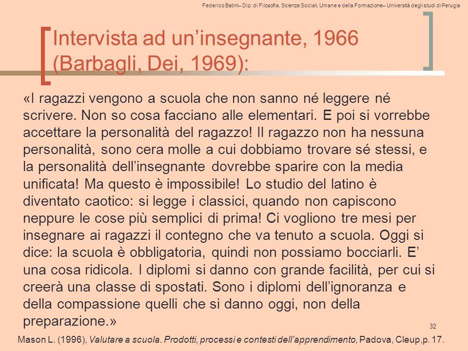 Federico Batini– Dip. di Filosofia, Scienze Sociali, Umane e della Formazione– Università degli studi di Perugia Intervista ad un'insegnante, 1966 (Ba
