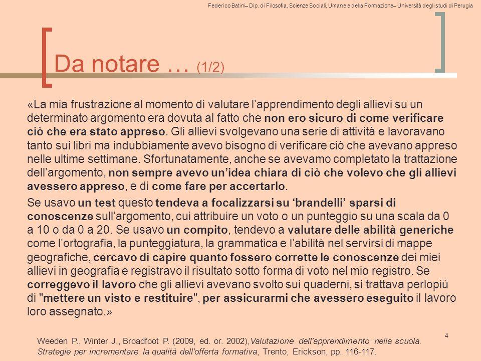 Federico Batini– Dip. di Filosofia, Scienze Sociali, Umane e della Formazione– Università degli studi di Perugia Da notare … (1/2) «La mia frustrazion