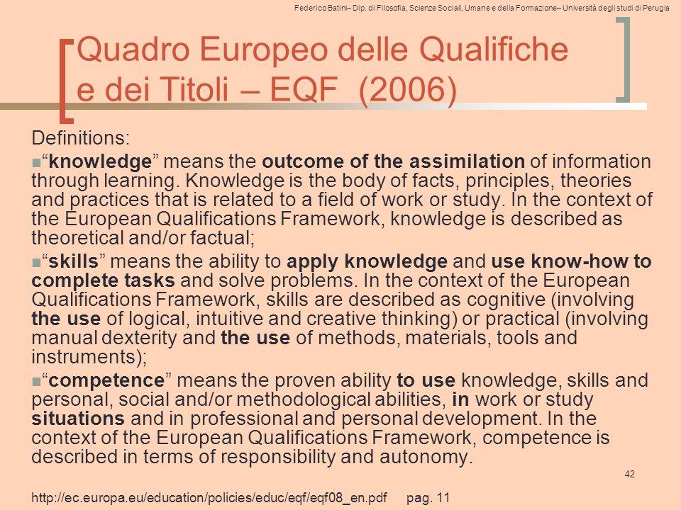 Federico Batini– Dip. di Filosofia, Scienze Sociali, Umane e della Formazione– Università degli studi di Perugia 42 Quadro Europeo delle Qualifiche e