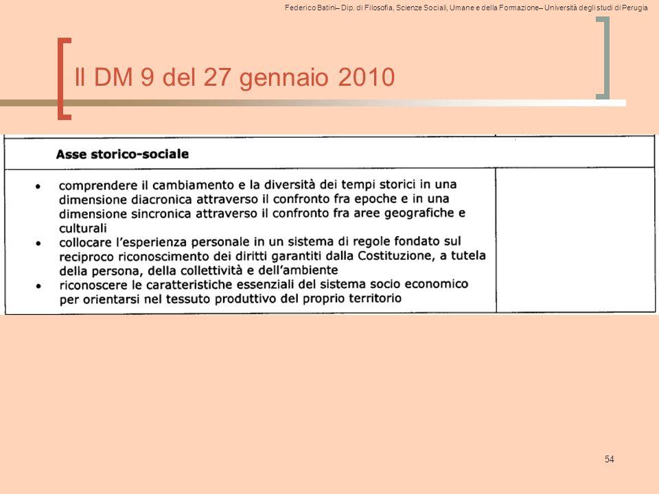Federico Batini– Dip. di Filosofia, Scienze Sociali, Umane e della Formazione– Università degli studi di Perugia 54 Il DM 9 del 27 gennaio 2010