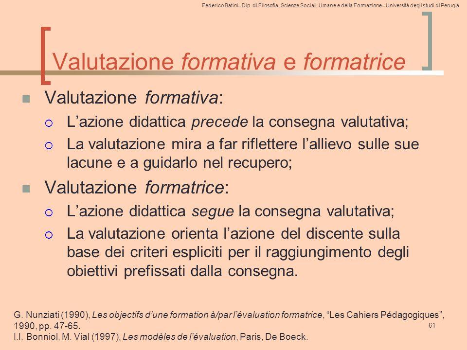 Federico Batini– Dip. di Filosofia, Scienze Sociali, Umane e della Formazione– Università degli studi di Perugia 61 Valutazione formativa e formatrice