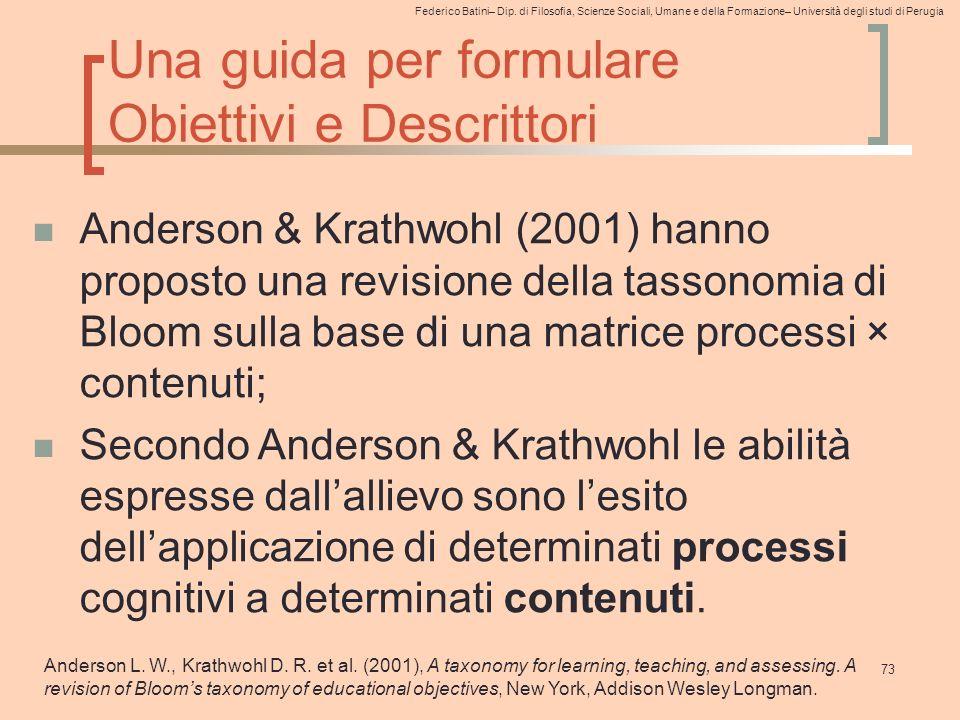 Federico Batini– Dip. di Filosofia, Scienze Sociali, Umane e della Formazione– Università degli studi di Perugia 73 Una guida per formulare Obiettivi
